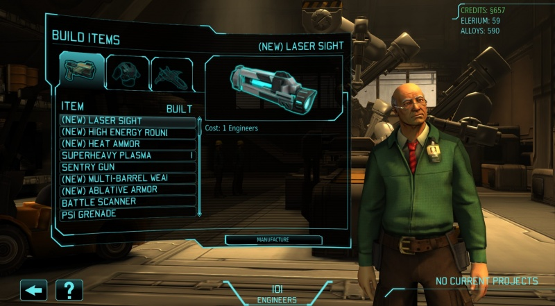 XCOM Engineering Build Item UI with Additional Items