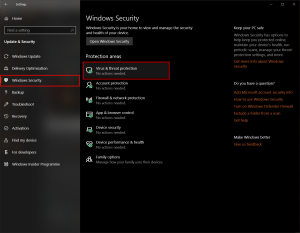 "Select ""Windows Security"" from the menu."